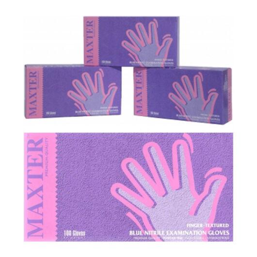 Kék kesztyű érzékeny bőrűek számára, latex- és púdermentes, kék, (100 db) (XS)